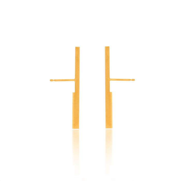 Unfinishing Line   Gold perspective sterling silver earring / Medium  (UL19)