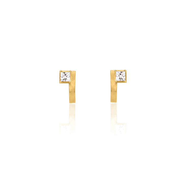 Unfinishing Line   sterling silver curve square topaz gold earring  (UL19)