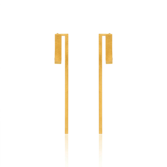 Unfinishing Line   Gold Long curve sterling silver earring (UL19)
