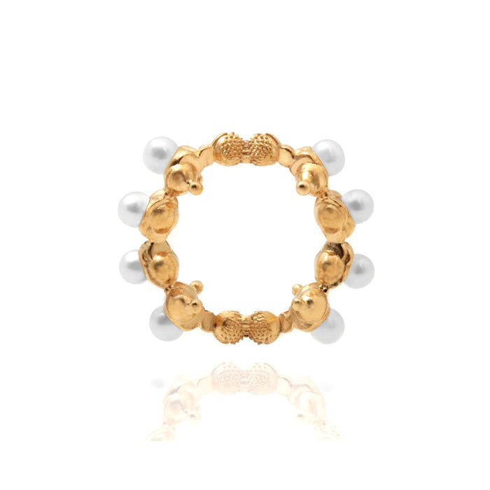 Touching The Invisible Textured Ring with freshwater pearls Silver Goldpleated Ring (TI)