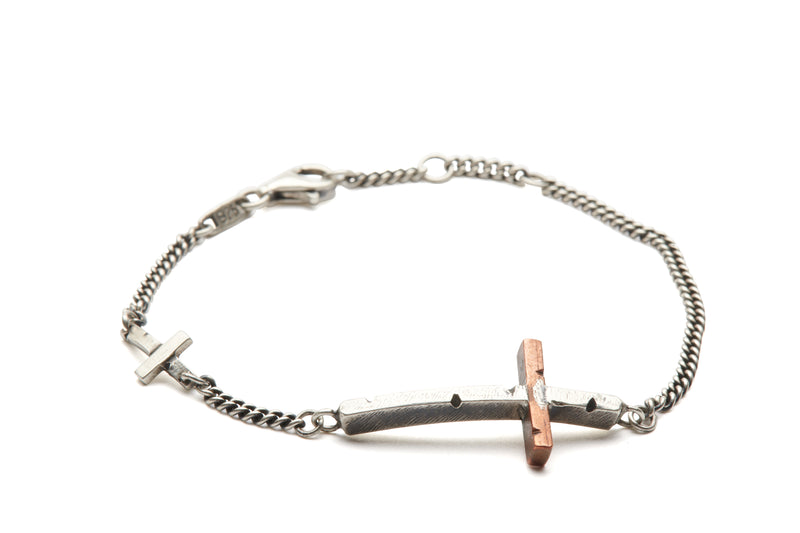 Double Copper Cross Bracelet