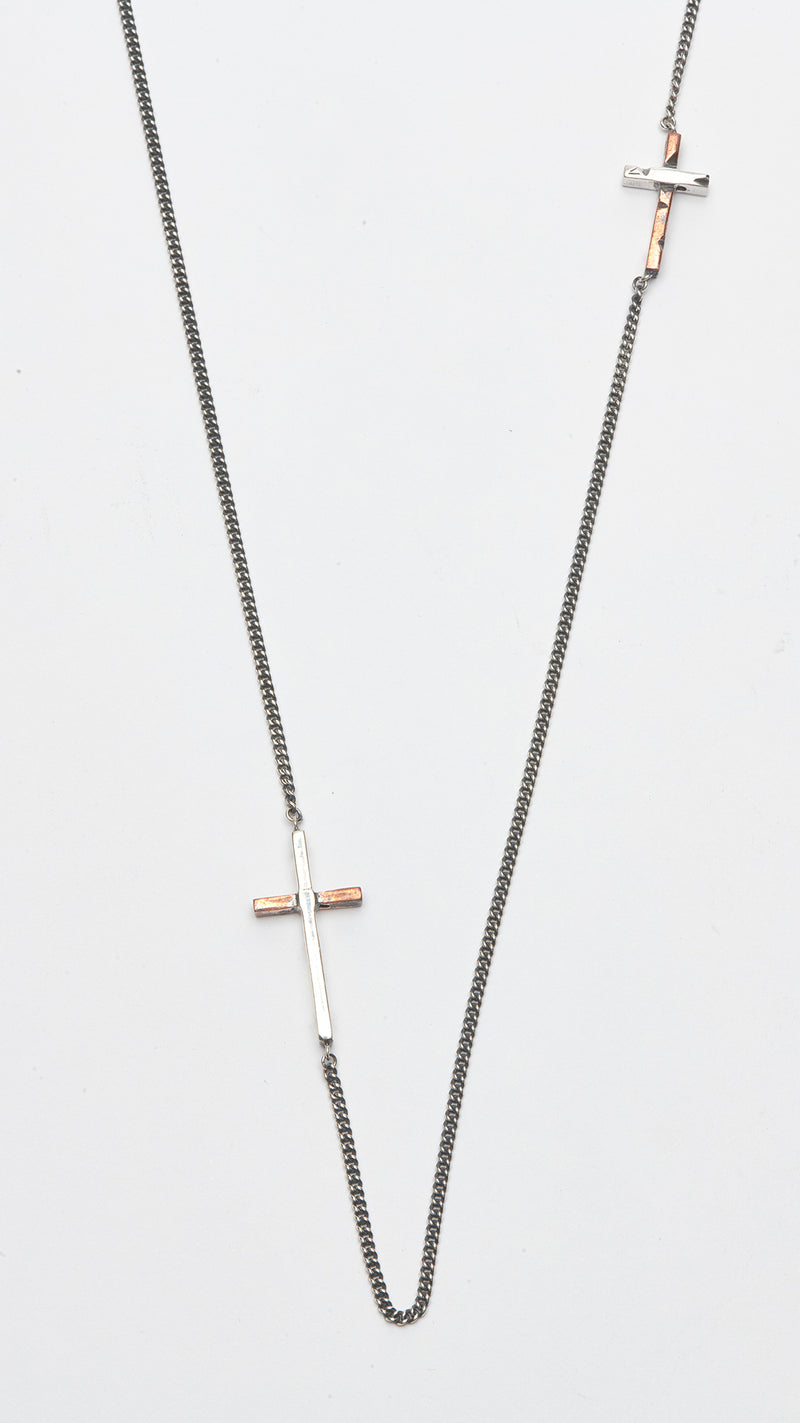 Double Copper Cross Necklace