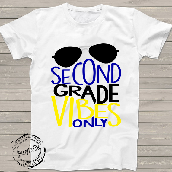 2nd Grade Vibes only shirt, 1st Day of School, First day of school t-shirt for kids, for boys, for girls, Back to school shirt