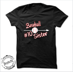 Baseball sister #10,  baseball sibling shirt, girls shirt