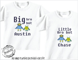 Big brother, little brother shirt set, bro bots, kids shirts, personalized set of two shirts