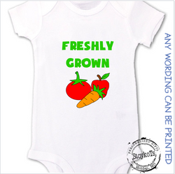 Freshly grown, white baby onesie, personalized