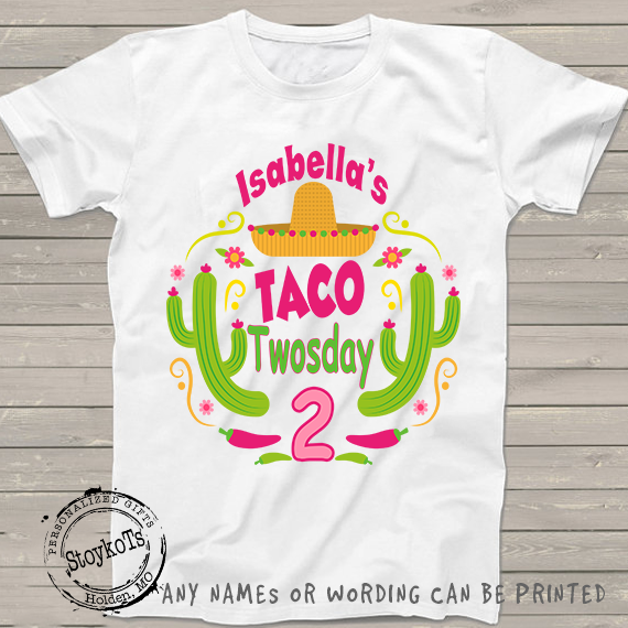 Taco Twosday 2nd Birthday shirt, personalized shirts for boys or girls, kids t-shirt, second bday