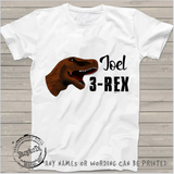 Joel 3-rex, dinosaur kids shirt, 3rd birthday, white kids shirt