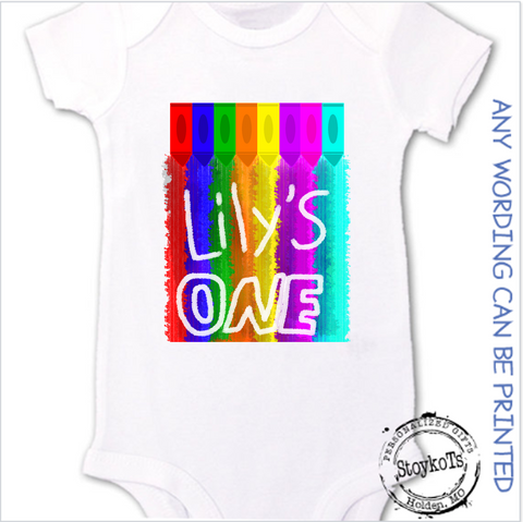 Lily's one, white baby onesie, personalized