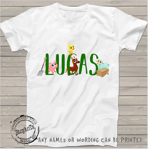 Lucas farm theme, kids shirt, boys