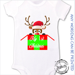 My 1st Christmas, white baby onesie, personalized