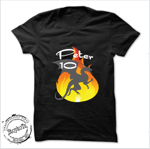 Dragon Birthday shirt, Boy's shirt, Black, personalized