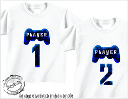 Player 1 player 2, kids shirts, boys, personalized