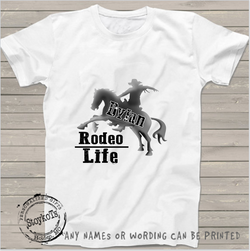 Rodeo life, kids shirts, boys, personalized