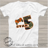 5th birthday shirt Gamer Personalized Game on t-shirt kids