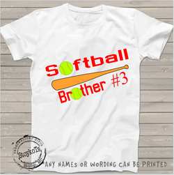 Softball brother  #3, Softball shirt, Boys shirt