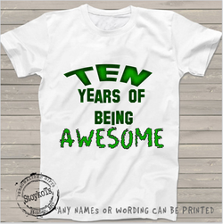 Ten years of being Awesome, Kids shirt, short sleeved