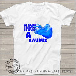 Three a saurus, kids shirt, black sleeve shirt