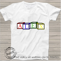 Toy blocks, Kids shirt, personalized