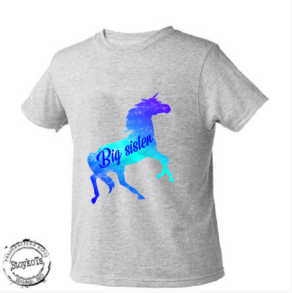 Big sister, unicorn shirt, girls shirt