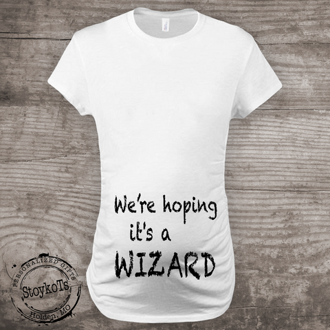 Halloween Pregnancy T Shirt.Halloween Maternity Shirt Were Hoping Its A Wizard Pregnancy Announcement T Shirt