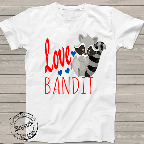 "Funny Valentines Day Shirts, ""Love Bandit"" Cute Raccoon t-shirt, shirts for boys, girls, kids, babies"