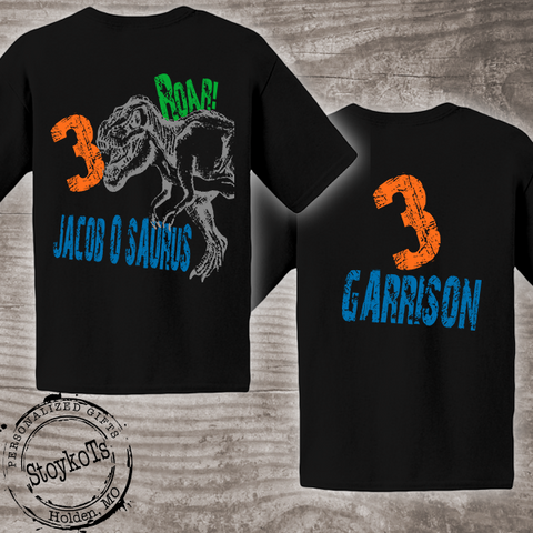 Dinosaur Birthday Shirt, front and back print on black shirt for kids, personalized dino black t-shirt
