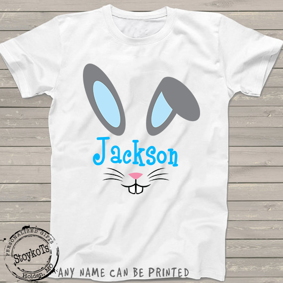 Easter Shirts for boys, blue bunny rabbit ears t-shirt, personalized shirts for kids, for girls or boys