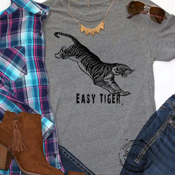 Easy Tiger shirt, Heather grey cat t-shirt