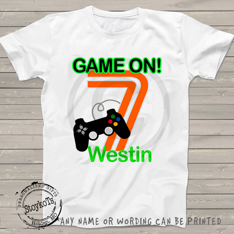 7th birthday shirt Gamer Personalized Game on t-shirt kids