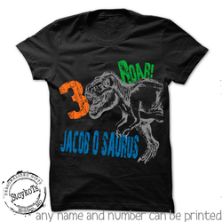 Dinosaur Birthday Shirt, shirts for kids, personalized dino black t-shirt