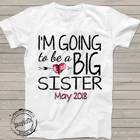 I/'m The Little Sister Hearts Embroidered Baby T-Shirt Gift Personalised