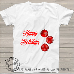 Happy Hoildays ornaments, white christmas shirt, personalized