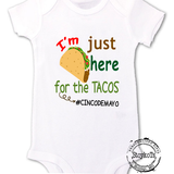 "Cinco de Mayo fiesta shirt for babies, funny shirt for kids, ""I'm just here for tacos"" boys or girls, Taco Tuesday, taco lover"