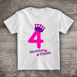 4th Birthday princess shirt crown t-shirt girls personalized 1, 2,3,4 princess theme - a475