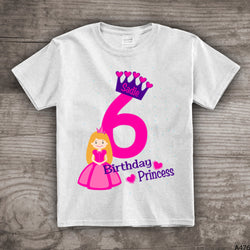 6th Birthday princess shirt crown t-shirt girls sixth bday personalized 1, 2,3,4, 5, 6 princess theme - a476