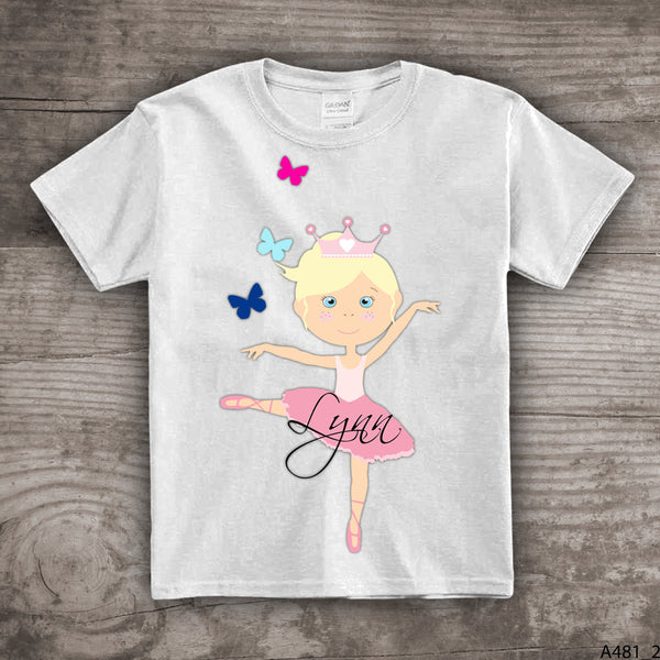 Ballerina shirt dance team shirts for girls personalized ballet theme birthday tutu girl- a481_2