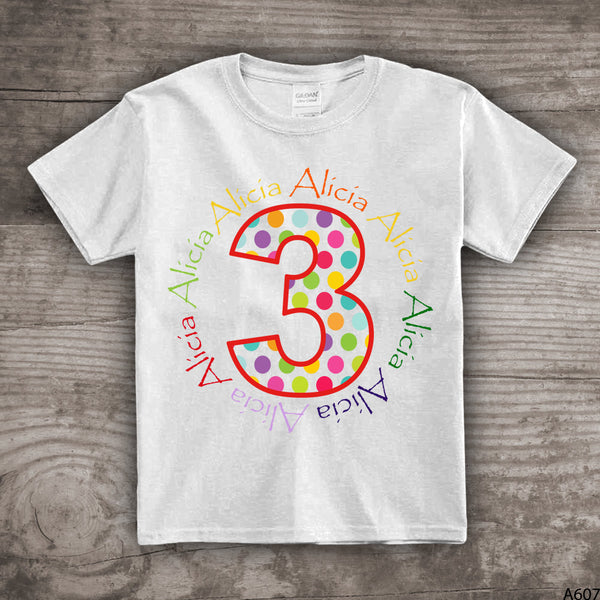 3rd Birthday shirt Third bday boys girls personalized name t-shirt 1, 2,3,4, 5, 6, 7, 8, 9, unisex kids clothing tops and tees - a607