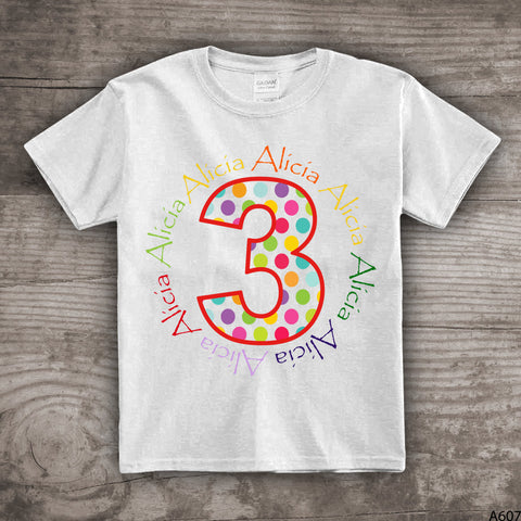 3rd Birthday Shirt Third Bday Boys Girls Personalized Name T Shirt 1