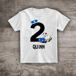 2nd birthday shirt Policeman theme party tshirt, Personalized, kids police car customized with any name or number clothing
