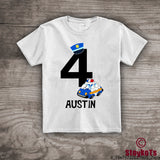 4th Birthday Personalized t-shirt Policeman Police Car Boys, kids police theme party