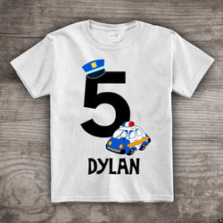 5th birthday Police Car Birthday shirt, police themed t-shirt, Personalize with any name gift for him gift for her tops and tees-c42