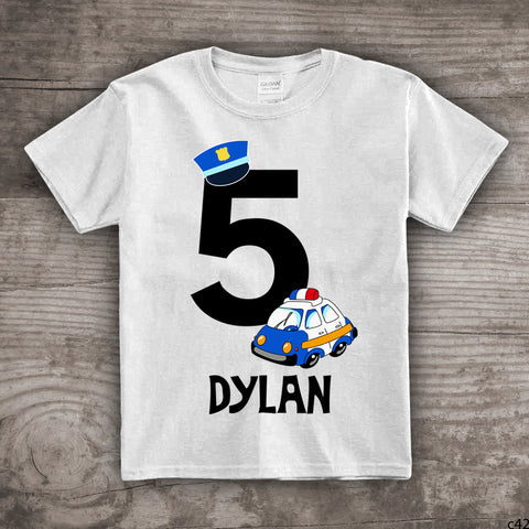 5th Birthday Police Car Shirt Themed T Personalize With Any