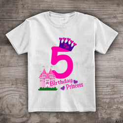 5th Birthday princess shirt crown t-shirt girls castle fifth bday personalized 1, 2,3,4, 5, 6 princess theme - a477