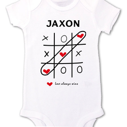 "Valentines Day Shirts, ""Love Always Wins"" Cute Tic Tac Toe t-shirt, shirts for boys, girls, kids, babies"