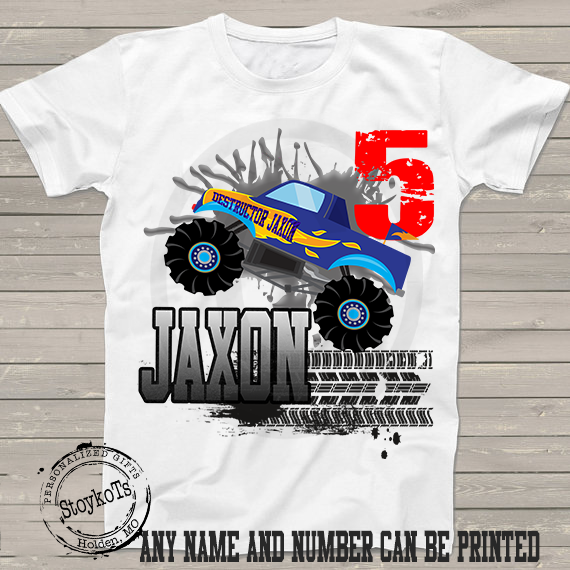 Monster Truck Birthday shirt for kids personalized tshirt