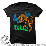 Dinosaur Birthday Shirt, shirts for kids, personalized orange dino black t-shirt