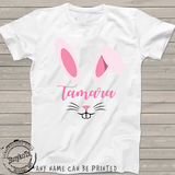 Easter Shirts for girls, pink bunny rabbit ears t-shirt, personalized shirts for kids, for girls or boys