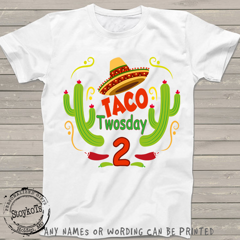 Taco Twosday 2nd Birthday Fiesta Shirt Personalized Shirts For Boys Or Girls Kids T