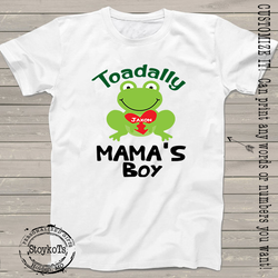 "Valentines Day Shirts, ""Toadally Mama's Boy"" t-shirt, Personalize it with any name, gift from kids, shirts for boys, girls, kids, babies"